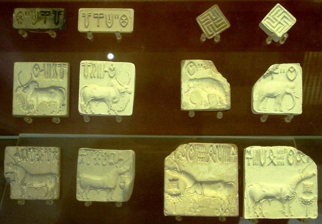 Sellos conservados hallados en la ciudad de Harappa