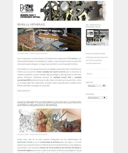 Captura de pantalla del blog Arqueología y patrimonio virtual