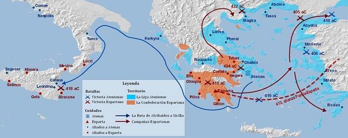 Mapa de la Guerra del Peloponeso Mi Historia universal