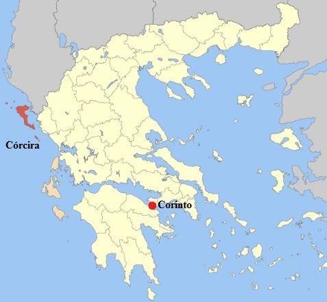 Mapa del mundo griego en el que se señala en rojo las ubicaciones de la isla de Córcira y de la ciudad de Corinto