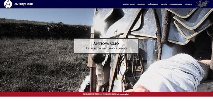Captura de pantalla de la página de bienvenida de Antiqua Clío