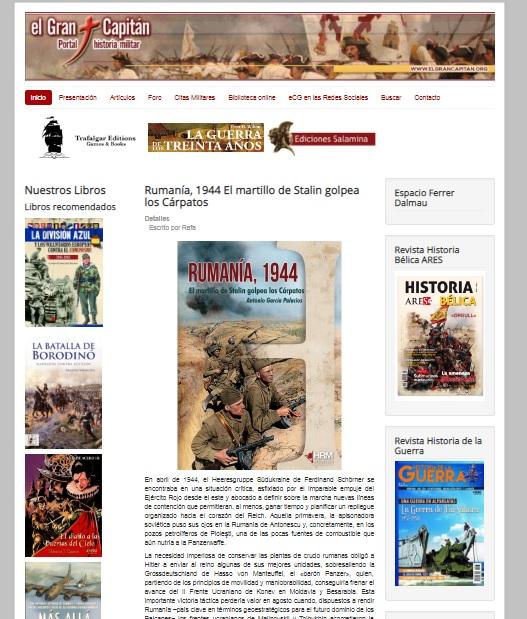 Captura de pantalla de la web El gran capitán
