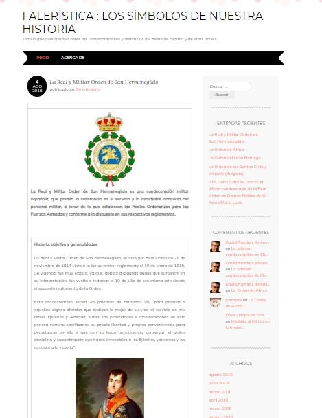 Captura de pantalla general del blog Falerística