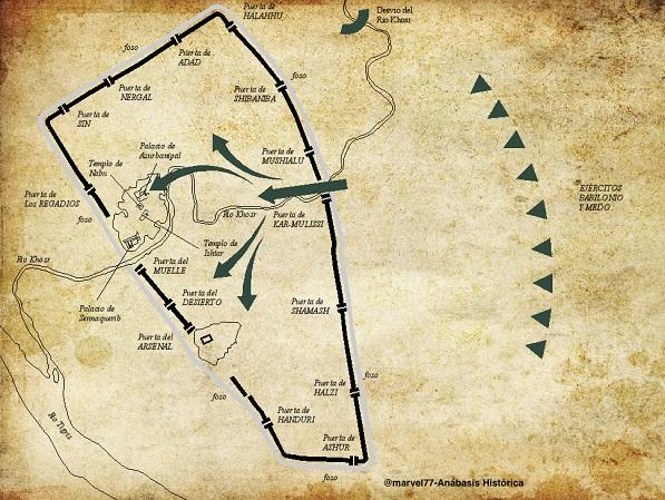 Esquema con mapa que explica el asedio y destrucción de Nínive en el 612 a.C.