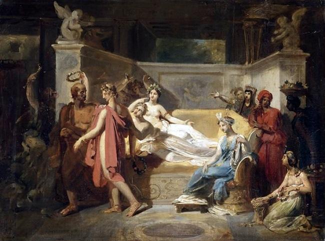 Alcibíades con las cortesanas, cuadro de Felix Auvray (1833)