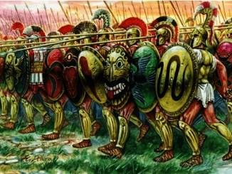 Ilustración de una falange ateniense avanzando (Arrecaballo)