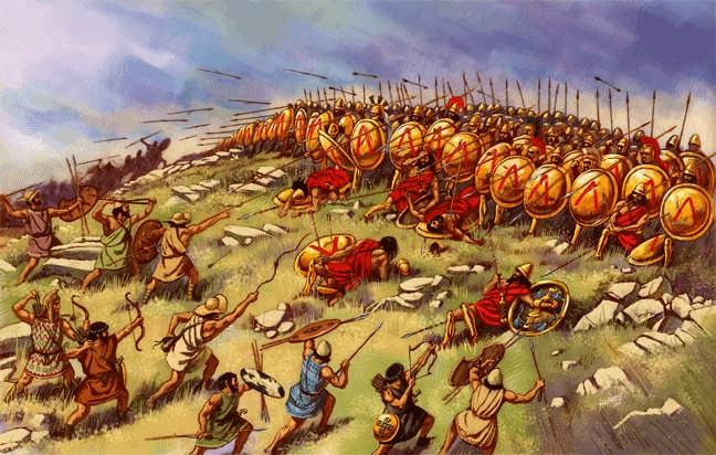 Ilustración sobre la batalla de Esfacteria, del 425 a.C., en plena Guerra de los Diez Años (Fuente: Arrecaballo)