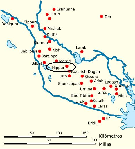 Mapa de la Baja Mesopotamia en el que se señala Nippur