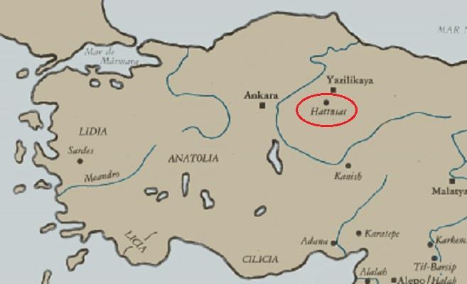 Mapa de la península de Anatolia que señala la ubicación de Hattusa