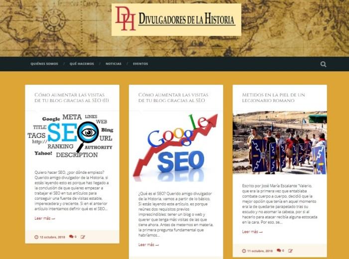Captura de pantalla del blog de Divulgadores de la Historia