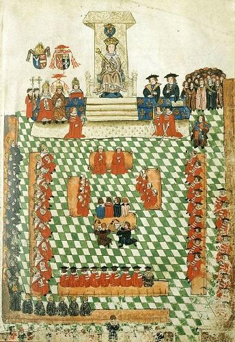 Ilustración que representaría el parlamento británico en 1523