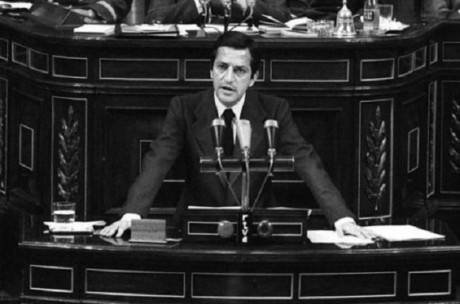 Adolfo Suárez hablando en el Congreso de los Diputados