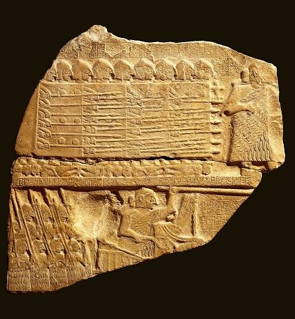 Fragmento de la Estela de los Buitres, hallada en el archivo de Lagash