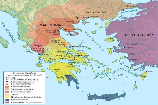 Mapa del mundo griego a la muerte de Filipo II de Macedonia, en el 336 aC