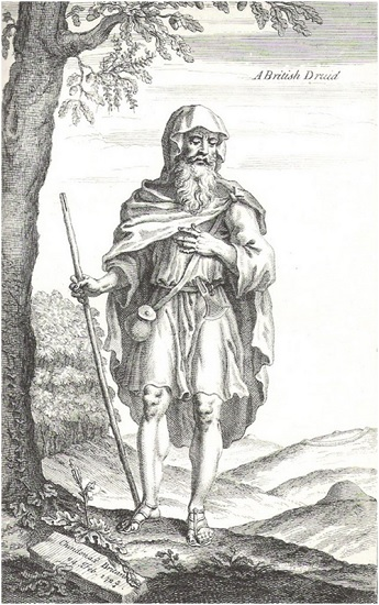 A British Druid (1723) Grabado de William Stukeley idealizando a los druidas