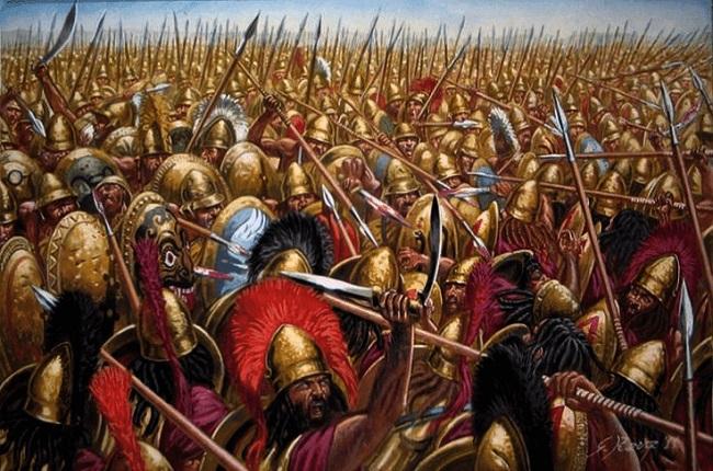 Ilustración de la batalla de Leuctra Arrecaballo