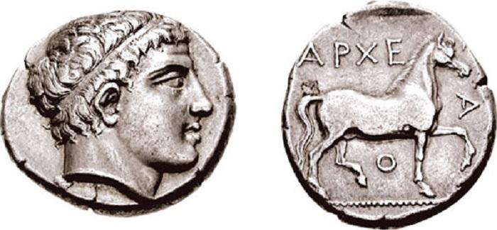 Dracma de Arquelao I, soberano del reino de Macedonia