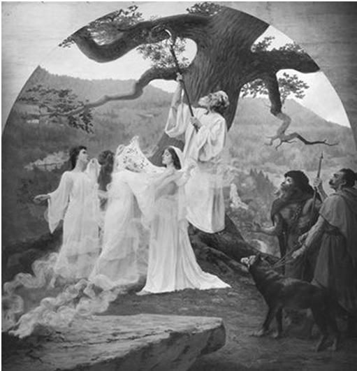 """""""Druids and druidesses"""", de Joseph Aubert, es una muestra del romanticismo neo-druídico de la religión celta"""