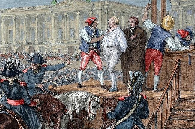 Grabado en color de la ejecución del rey Luis XVI de Francia