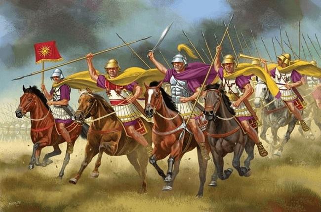 Ilustración de la caballería de élite macedonia Arrecaballo