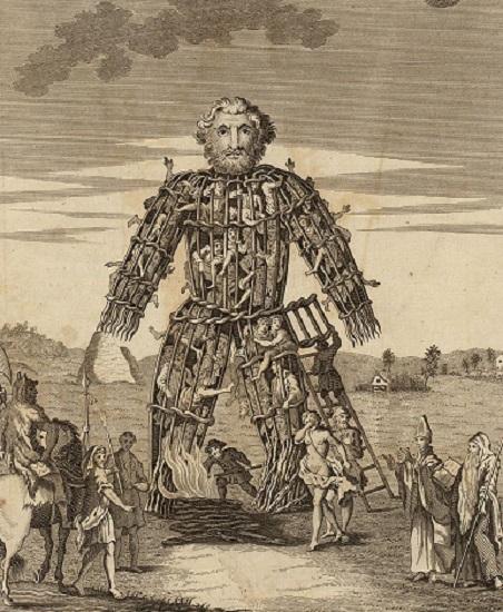 Ilustración del siglo XVIII de un hombre de mimbre usado por los druidas