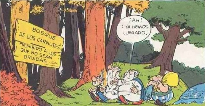 La importancia de los nemeton y del Bosque de los Carnutes sigue presente en el ideario popular francés, como muestra esta viñeta de Astérix y los godos