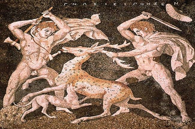 Mosaico hallado en la Casa del Rapto de Helena, en Pella