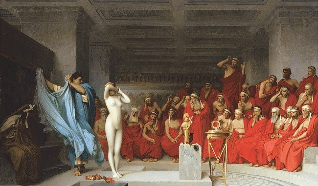 Praxíteles desnuda a Friné ante el Areópago L Gerome 1861