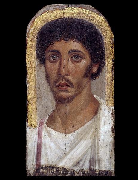 Uno de los retratos de El Fayum del periodo romano, de un joven a la moda romana