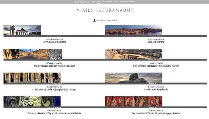 Captura de pantalla de los viajes programados de la agencia Pausanias