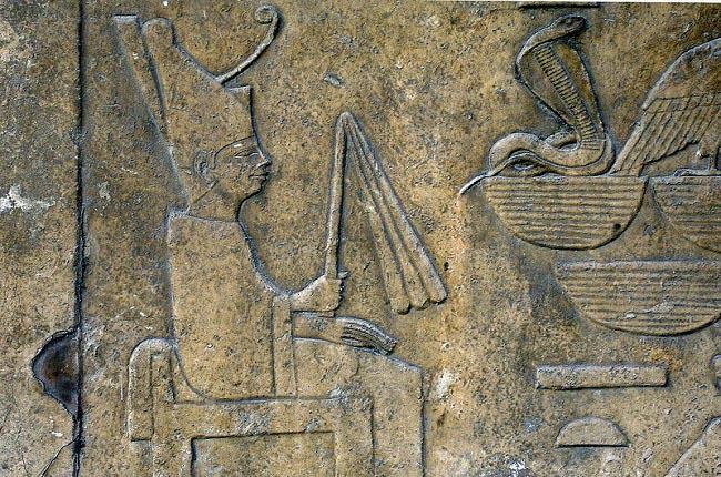 Representación de Seneferu en su templo funerario de Dahshur