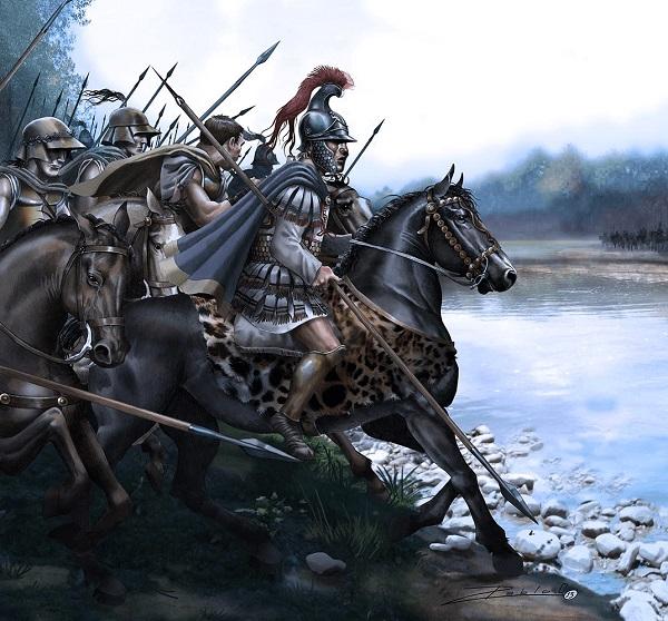 Alejandro Magno en la orilla del río, antes de la batalla