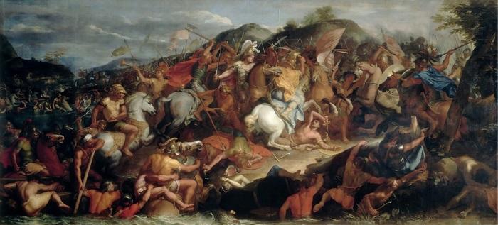 La batalla de Gránico, cuadro de Charles Le Brun hecho en el siglo XVII