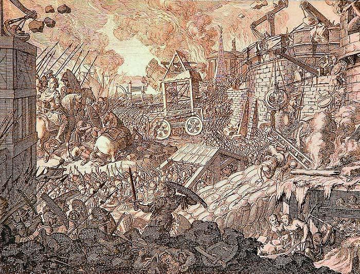 Grabado del siglo XVII sobre el asedio de Tiro por parte de Alejandro Magno