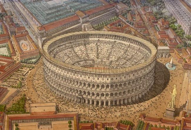 Recreación del Coliseo romano en su máximo esplendor (Jean Claude Golvin)