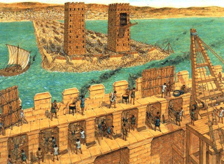 Recreación del asedio de Tiro por Alejandro Magno Khronos Historia