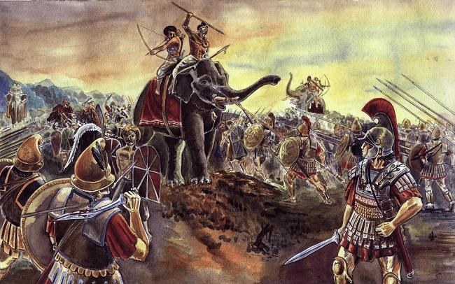 Ilustración que representa la batalla del Hidaspes (Arrecaballo)