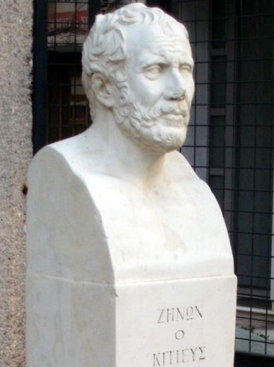 Estatua de Zenón, fundador de la filosofía helenística del estoicismo, en Atenas