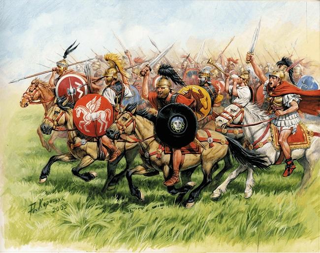 Ilustración que reconstruye la caballería de la República Romana, que acabó con los reinos helenísticos
