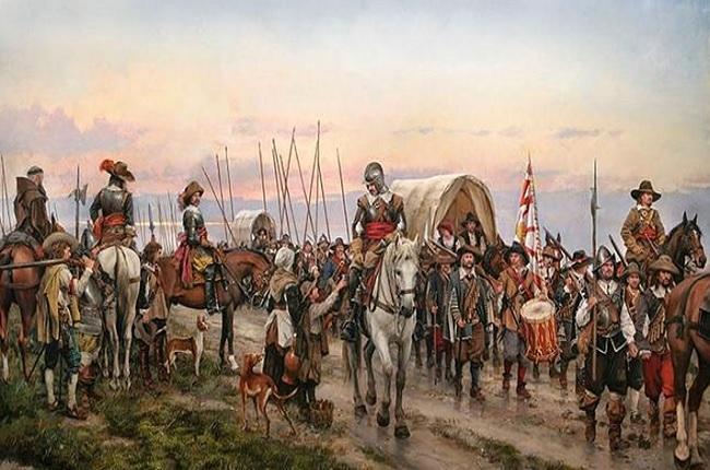 Soldados de los Tercios españoles en el denominado Camino español. Cuadro de Augusto Ferrer Dalmau