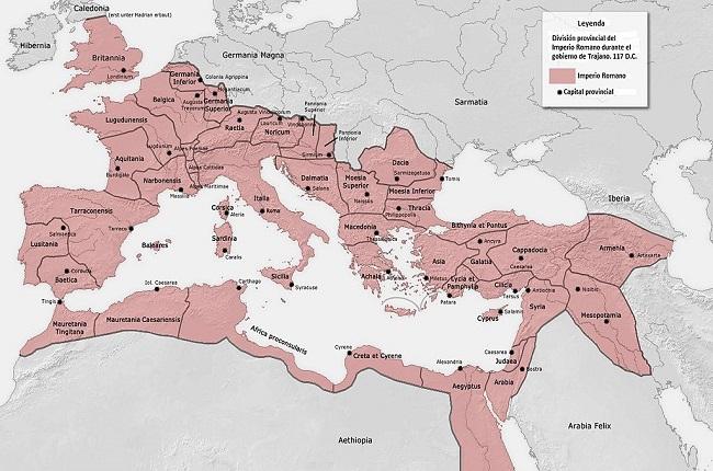 El Imperio Romano en su momento de mayor extensión, a comienzos del siglo II