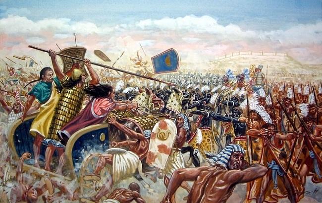 Ilustración que recrea la batalla de Qadesh (Fuente: Arrecaballo)