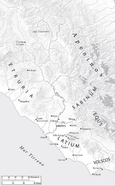 Mapa de la antigua Roma arcaica y sus vecinos (Fuente: Beard, 2015)