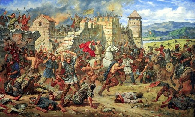 Ilustración que recrea el ataque de Atila el huno a Constantinopla, momento final de la cronología del Imperio Romano