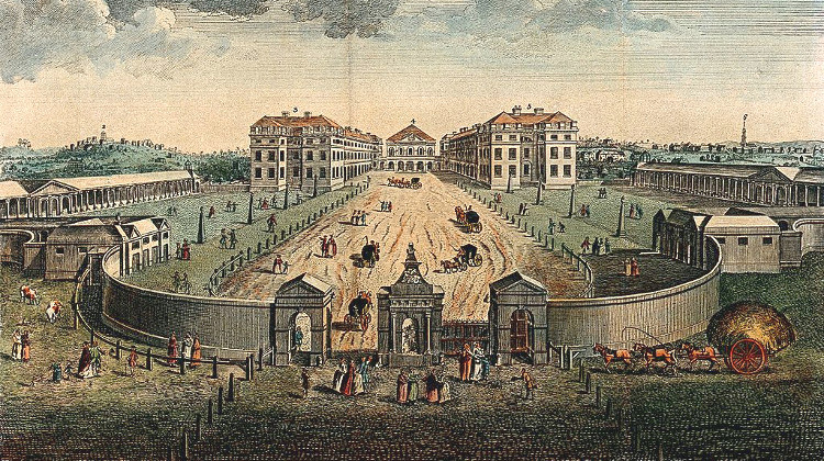 The Foundling Hospital Holborn, London: a bird's-eye view, coloured engraving after L. P. Boitard, 1753
