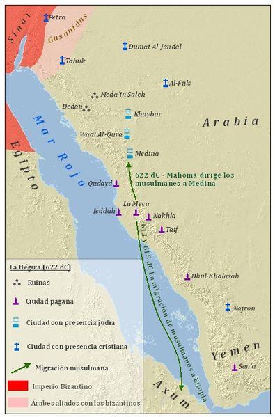 Mapa de la Hégira y otras anteriores migraciones musulmanas.