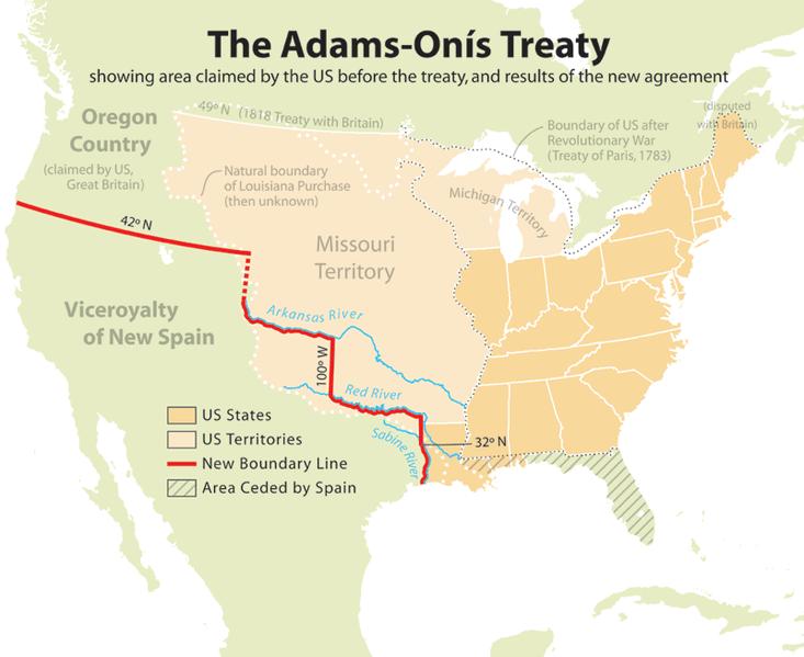 Mapa del tratado español estadounidense