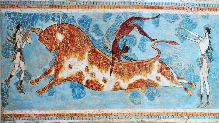 Famoso fresco del salto de toro, vestíbulo de entrada del Palacio de Cnosos.