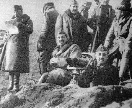 Franco durante la batalla del Ebro
