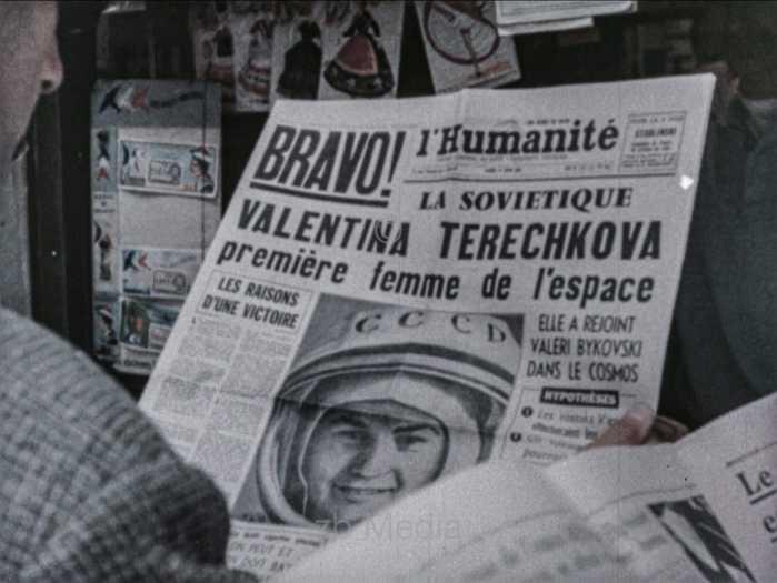 Presseschlagzeile zu Raumflug von Valentina Tereschkowa